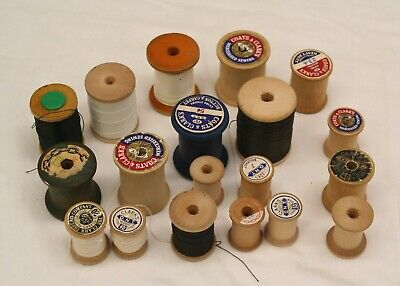 Lot of 19 Vintage Wooden Sewing Thread Spools Coats & Clark other crafts  (Wooden Thread Spools)