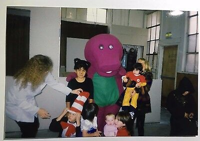 Vintage 1990s PHOTO Kids Barney The Dinosaur Birthday Party On Halloween Day