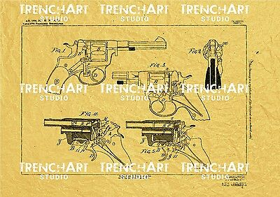Patent Print Nagant M1895 Revolver poster gun WW1 WWI war wall art decor russia for sale  Shipping to United States