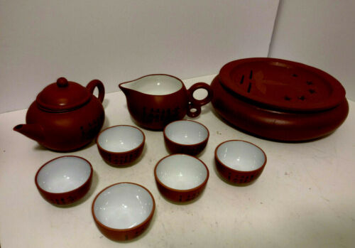 Vintage Red Clay Chinese Yixing Zishe 11 Piece  Tea Set
