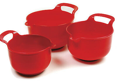 Norpro 1020 Mixing Bowls Set of 3 With Handle Grip and Non-Slip Base RED