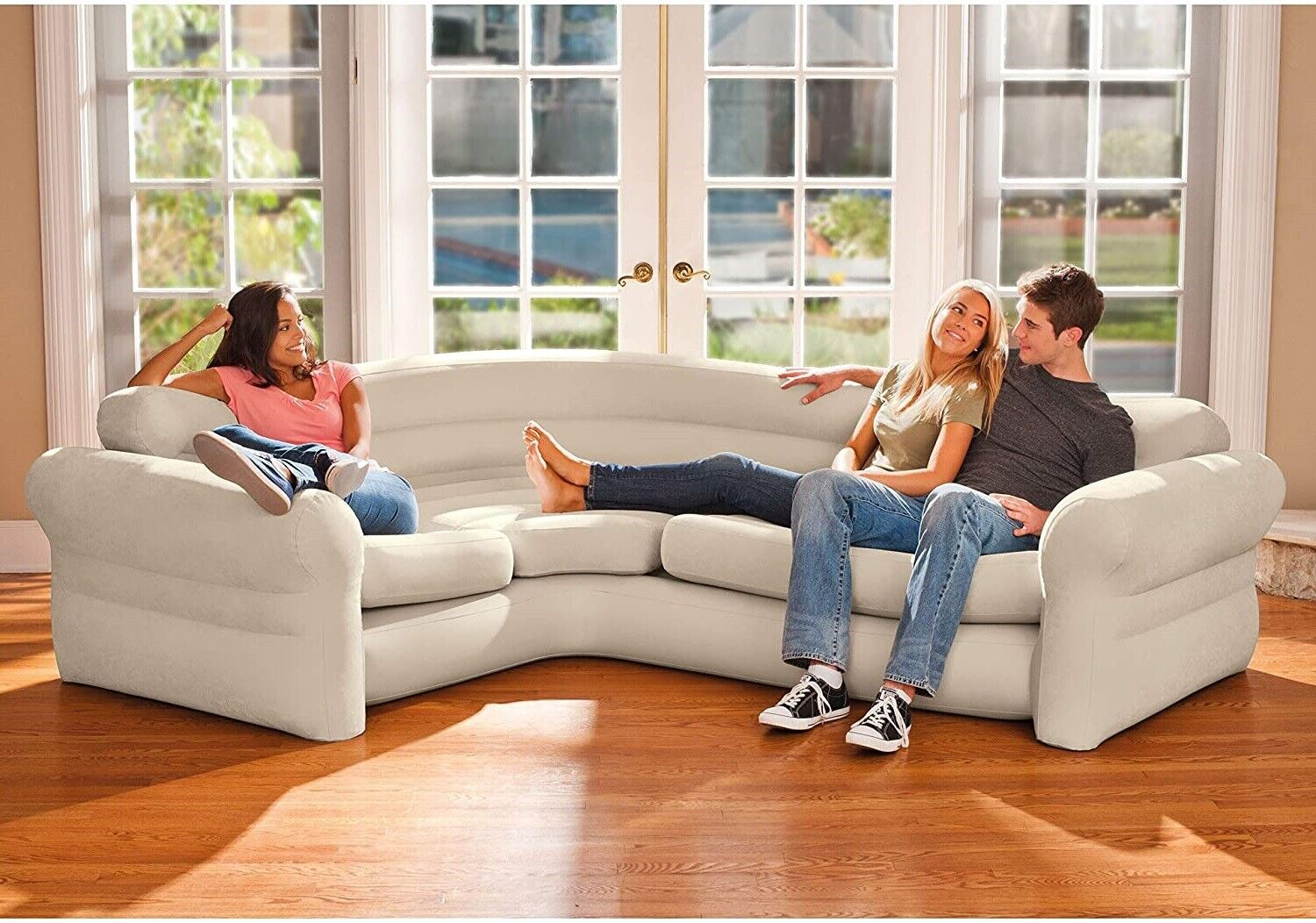 Ultra Comfort Corner Sofa Sleeper Couch Blow Up Futon Sectional Bed Living Room