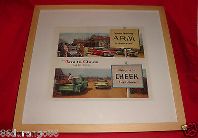VINTAGE 1958 FRAMED AD ARM MS CHEEK OK GMC TRUCK CHEVY +++  OLD AD NEW FRAME