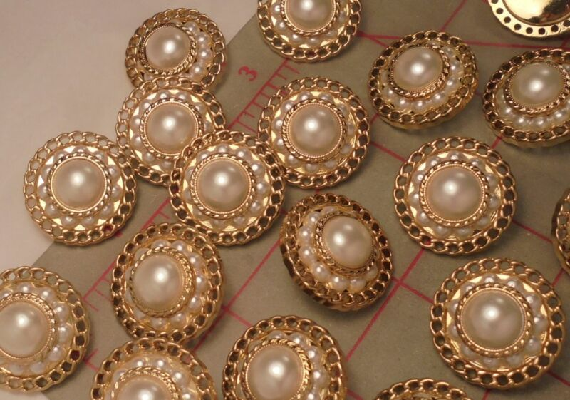 4 Wonderful JUMBO Pearl and Gold Shank Buttons with Extra Row of Pearls 1-1//2/""