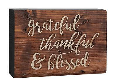 Thankful Grateful Blessed (GRATEFUL THANKFUL & BLESSED Distressed Wood Tabletop Block Plaque, 5