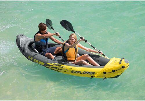 Intex K2 Explorer 2 Person Inflatable Kayak Oars Pump Bag Fast Ship