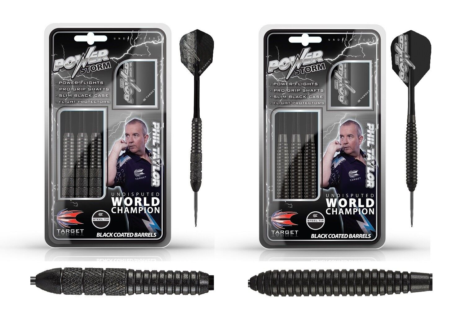 Target Darts - Phil Taylor Power Storm Brass 22g 24g (Steel Dart) Dartpfeile NEU