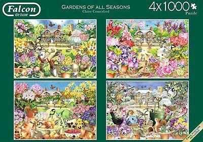 Seasons Puzzle Set - NEW! Falcon de luxe Gardens of All Seasons 4 x 1000 piece nostalgic puzzle set
