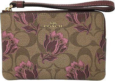 Coach Women's Corner Zip Wristlet Wallet in Signature Canvas w/ Desert Tulip