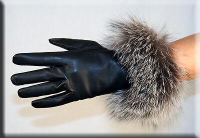 Brand New Black Lambskin Leather Gloves Indigo Fox Fur Trim Cashmere Lining Cashmere Lined Lambskin Gloves