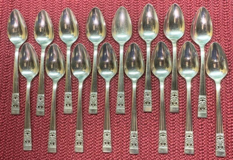 """16 Teaspoons 1936 CORONATION Oneida Community Silverplate 6 1/8"""""""