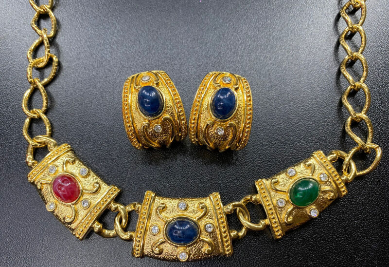Vtg Avon Essentials Treasure Necklace Earrings Set Etruscan Rare Signed Jewely