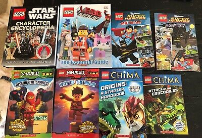 Lego Books Star Wars Character Encyclopedia, Chima, Ninjago, Super Heroes-Lot