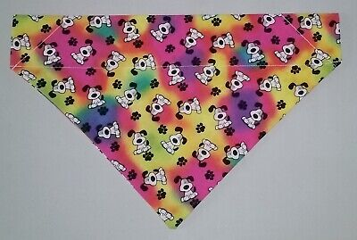 Tie Dye Pups & Paws Dog Bandana Scarf-Slide over Collar-Size Small to XLarge