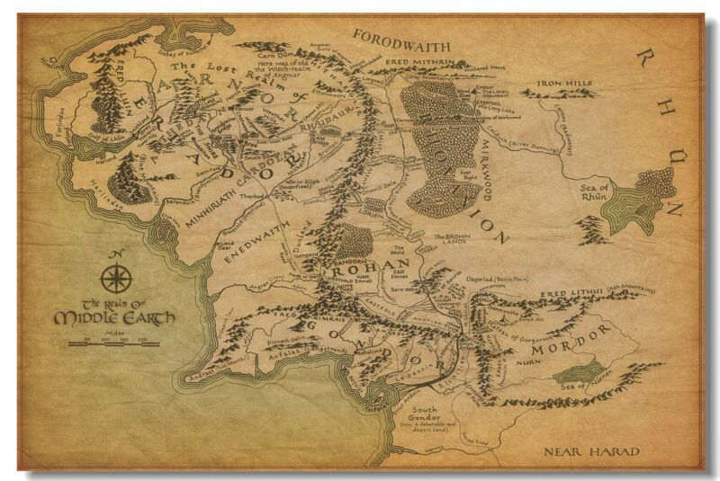 Map Of Middle Earth The Lord Of The Rings Art Wall Cloth Pos
