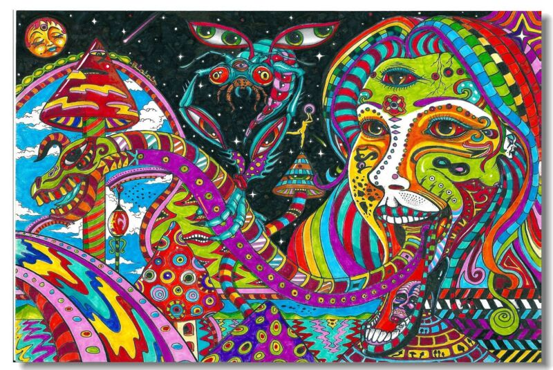 Poster Psychedelic Trippy Colorful Ttrippy Surreal Abstract Digital Art Print 19