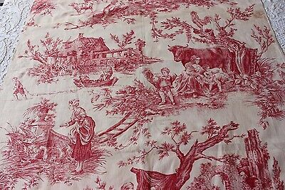 """Antique French Romantic Printed Linen Toile c1890~1 yd 2""""L X 32""""W"""