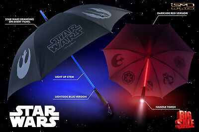 NEW Star Wars Official Light up Lightsaber Umbrella with Torch Handle Red/Blue