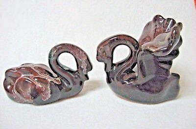 VINTAGE pair art pottery SWAN brown drip glaze SUPER SHAPE