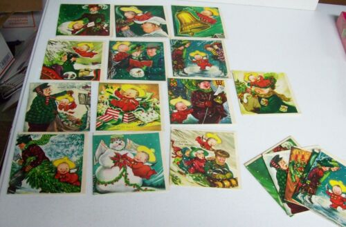 RARE Colorful Set 18 Vintage Christmas Cards Unused - CHARLOT BYJ   Assorted