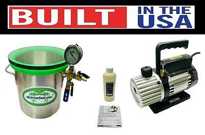 3.0- Gal Slickvacseal Wood Stabilizing Chamber W-temp Glass 3 Mastercool Pump