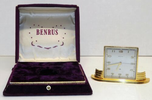 Vintage Benrus - Swiss movement - Mechanical Windup Alarm desk Watch Clock BOX