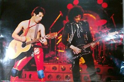 """QUEEN """"THE GAME TOUR - FREDDIE & BRIAN PLAYING GUITAR"""" POSTER, FROM EARLY 1980's"""