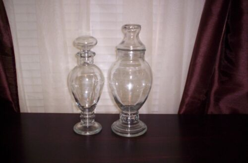 PAIR OF VINTAGE  CLEAR GLASS APOTHECARY JARS