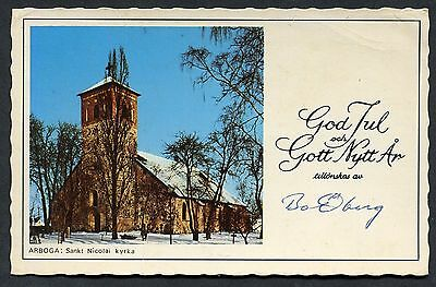 Dated 1979 Greetings Card with View of Parish Church Arboya, Sweden