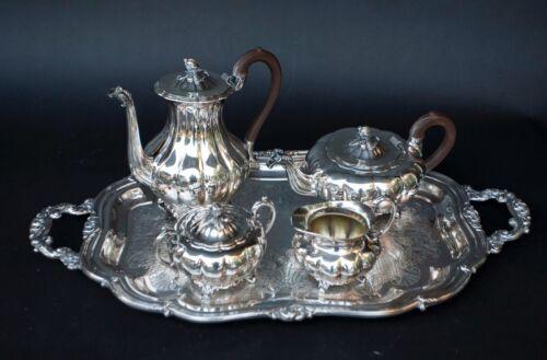5 FIVE PIECE COMMUNITY SILVERPLATE MELON SHEFFIELD DESIGN TEA SET