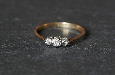Vintage 18ct Gold & Platinum Three Stone Diamond Trilogy Ring Art Deco Style 18k