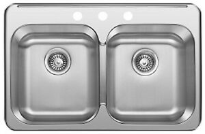 "SS Drop in Double, KITCHEN SINK 31 ¼""x 20 1/2""x 8"" for $89"