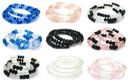Wholesale Lots Bracelets Crystal Coil Woman Bangles 20 pcs Mix Bulk FREE Shippin