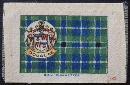 DOUGLAS Clan Tartan and Coat of Arms 99 year old SILK card issued in 1922