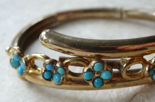 antique Victorian gold plate Turquoise flower clamper cuff bangle bracelet -A398