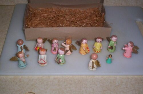 Vintage Italy Painted Wood Tiny Angel Musicians Band 12 Pc Orchestra Christmas
