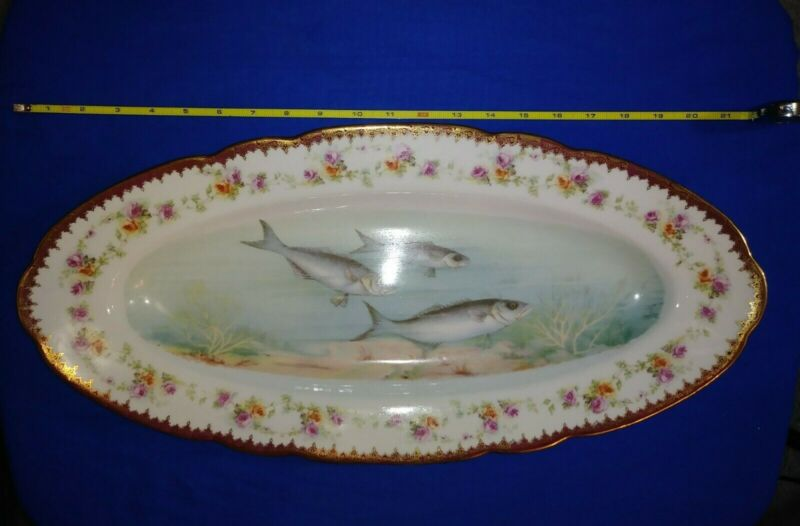 Large vintage porcelain fish platter Imperial Crown China Austria