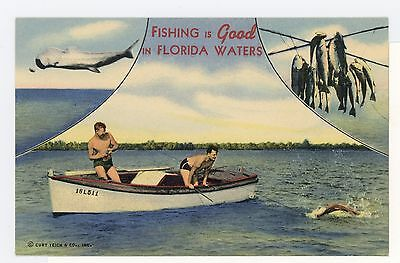 """Fishing is Good in Florida Waters"" Attractive Vintage Boat PC Linen ca. 1930s"
