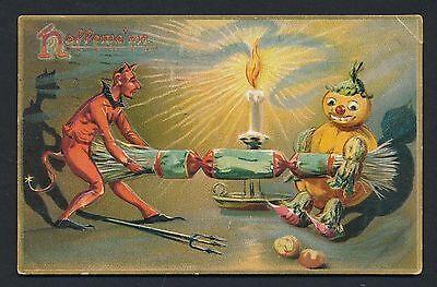1908 Eerie Halloween Postcard JACK O LANTERN & DEVIL Awesome! (Awesome O Halloween)