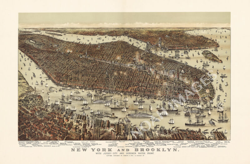 New York and Brooklyn c1892 map 36x24