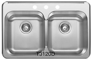 "SS Drop in Double, KITCHEN SINK 31 ¼""x 20 1/2""x 8"" for $89!!"
