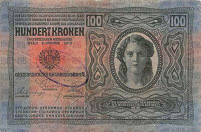 Austria / Hungary Empire  100 Korona  2.1.1912  Circulated Banknote