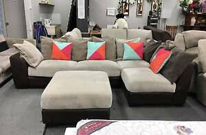 TODAY DELIVERY MODERN CHOCOLATE L SHAPE sofa couch PLUS OTTOMAN Belmont Belmont Area Preview