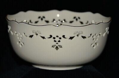 Genuine Lenox Fine China Gold Rimmed Pierced Bowl - Christmas Holly