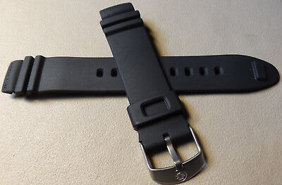 New Mens 18mm Timex Expedition 200m Watch Band Rubber Black Satin Nickel Buckle -