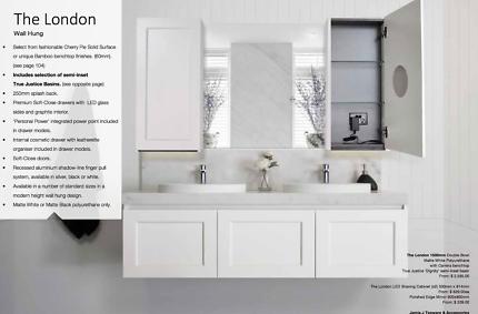 Double Bathroom Vanity - 1800mm wall hung, BRAND NEW ADP London
