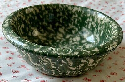 Vintage Workshops of Gerald E. HENN Green Spongeware Pottery Cereal Bowl Dish