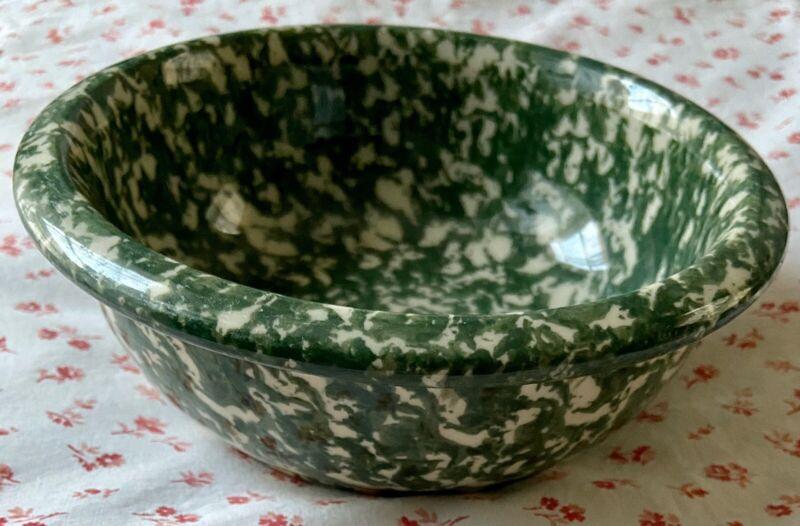 Vintage Workshops of Gerald E. HENN Green Spongeware Pottery Cereal Bowl Dish