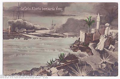 Foto AK Schiff --la carlo alberto-- beschießt Homs um 1911