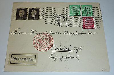 Luftpost Dortmund Neisse 1933 Zweigluftpostamt Berlin Flughafen Brief Vignetten